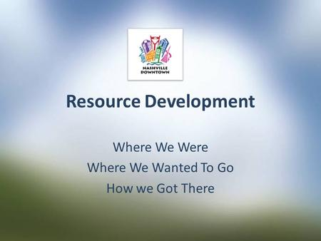 Resource Development Where We Were Where We Wanted To Go How we Got There.