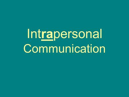 Intrapersonal Communication. Communicating with oneself Thinking Self-talk.
