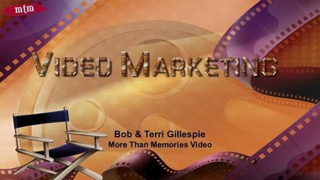 Bob & Terri Gillespie More Than Memories Video. MORE THAN MEMORIES VIDEO2.