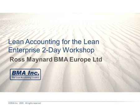 Lean Accounting for the Lean Enterprise 2-Day Workshop
