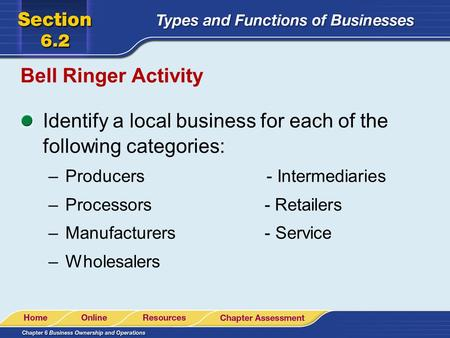 Identify a local business for each of the following categories: