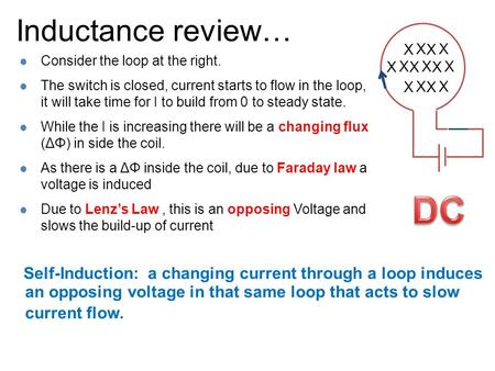 Inductance review… X X X X X X Self-Induction: a changing current through a loop induces an opposing voltage in that same loop that acts to slow current.