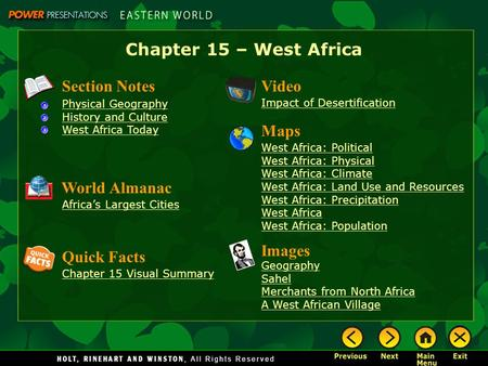 Chapter 15 – West Africa Section Notes Video Maps World Almanac Images
