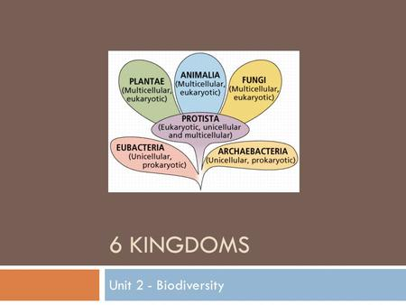 "6 KINGDOMS Unit 2 - Biodiversity. It's Alive!  What qualities distinguish something as ""living""?  It can…. Grow and develop Reproduce Obtain and use."
