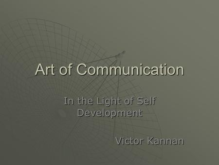 In the Light of Self Development Victor Kannan