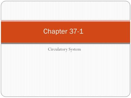 Circulatory System Chapter 37-1. Circulatory System Transportation system of the body Closed system – blood is contained in vessels within the body Consists.