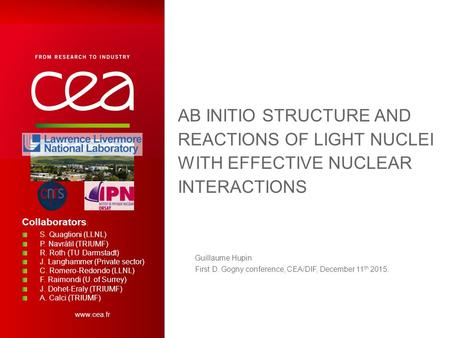 Www.cea.fr AB INITIO STRUCTURE AND REACTIONS OF LIGHT NUCLEI WITH EFFECTIVE NUCLEAR INTERACTIONS Guillaume Hupin First D. Gogny conference, CEA/DIF, December.