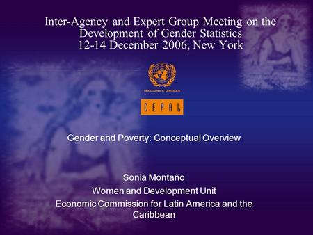 Gender and Poverty: Conceptual Overview Sonia Montaño Women and Development Unit Economic Commission for Latin America and the Caribbean Inter-Agency and.