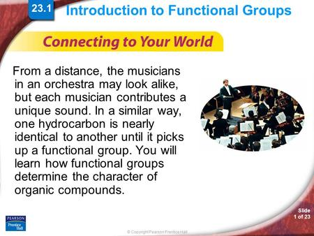 © Copyright Pearson Prentice Hall Slide 1 of 23 Introduction to Functional Groups From a distance, the musicians in an orchestra may look alike, but each.