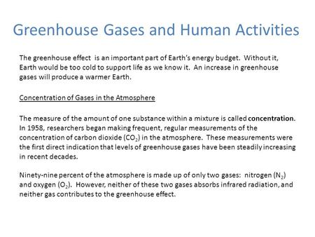 Greenhouse Gases and Human Activities