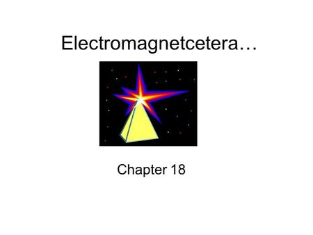 Electromagnetcetera… Chapter 18. Electromagnetic Waves Constantly changing fields: –Electric field –Magnetic field.