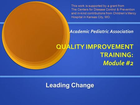 Academic Pediatric Association QUALITY IMPROVEMENT TRAINING: Module #2 This work is supported by a grant from The Centers for Disease Control & Prevention.