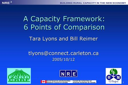 1 A Capacity Framework: 6 Points of Comparison Tara Lyons and Bill Reimer