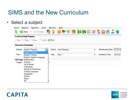 SIMS and the New Curriculum Select a subject. SIMS and the New Curriculum Select a strand.