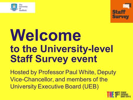 Welcome to the University-level Staff Survey event Hosted by Professor Paul White, Deputy Vice-Chancellor, and members of the University Executive Board.