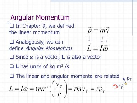 Angular Momentum  In Chapter 9, we defined the linear momentum  Analogously, we can define Angular Momentum  Since  is a vector, L is also a vector.