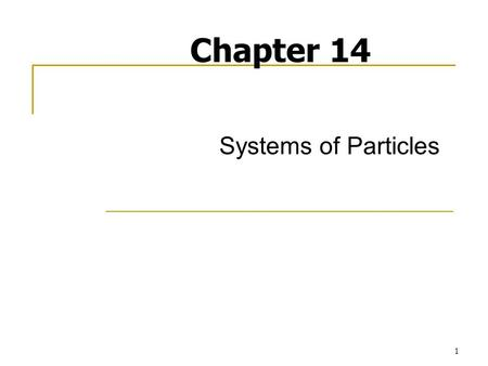 1 Systems of Particles Chapter 14. 2 Introduction In the current chapter, you will study the motion of systems of particles. The effective force of a.