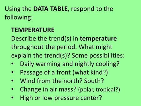 Using the DATA TABLE, respond to the following: TEMPERATURE Describe the trend(s) in temperature throughout the period. What might explain the trend(s)?