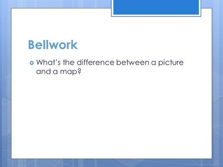 Bellwork What's the difference between a picture and a map?