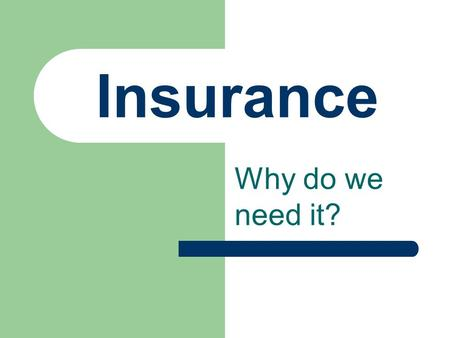 Insurance Why do we need it?. Types of Insurance Health Home/Renters Life Automobile.