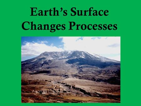 Earth's Surface Changes Processes. Weathering The breaking down of rocks into smaller pieces. These pieces do not move to a new location, they simply.