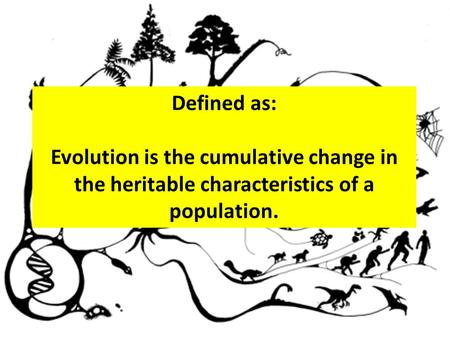 Defined as: Evolution is the cumulative change in the heritable characteristics of a population.