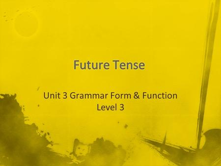 Unit 3 Grammar Form & Function Level 3