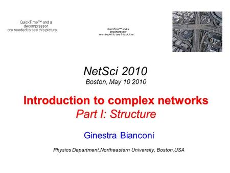 Introduction to complex networks Part I: Structure