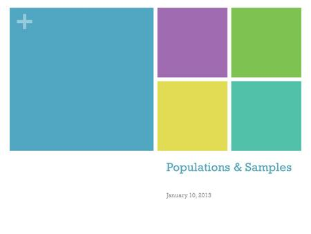 Populations & Samples January 10, 2013.