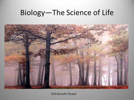 Biology—The Science of Life Old Growth Forest. Standard 2 Students know and understand the characteristics and structure of living things, the processes.