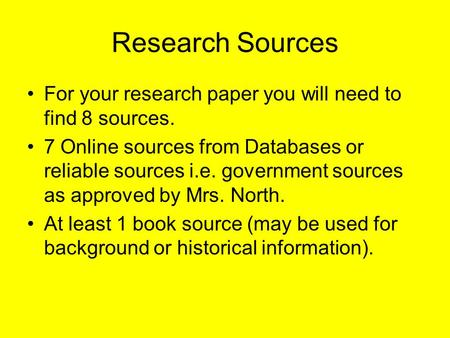 Find sources for research paper