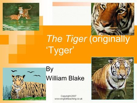 Copyright 2007 www.englishteaching.co.uk The Tiger (originally 'Tyger' By William Blake.