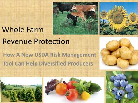 Revenue Protection How A New USDA Risk Management Tool Can Help Diversified Producers Whole Farm.