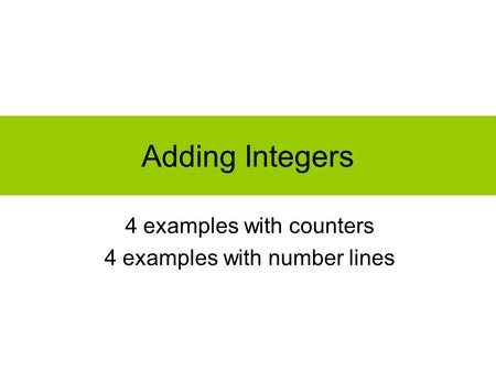 Adding Integers 4 examples with counters 4 examples with number lines.