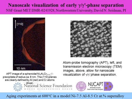 Nanoscale visualization of early  /  '-phase separation NSF Grant MET DMR-0241928, Northwestern University, David N. Seidman, PI Aging experiments at.