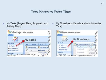 1 Two Places to Enter Time My Tasks (Project Plans, Proposals and Activity Plans) My Timesheets (Periods and Administrative Time)