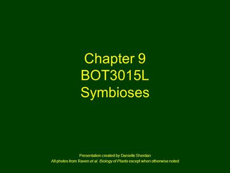Chapter 9 BOT3015L Symbioses