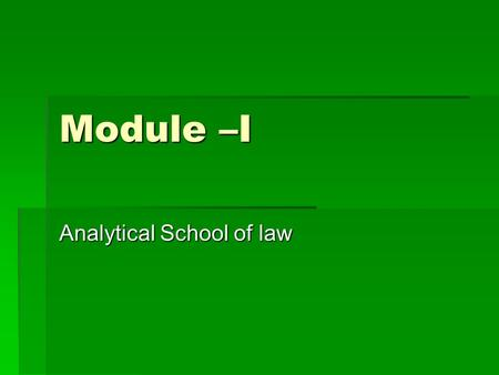 Analytical School of law