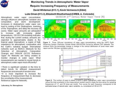 Monitoring Trends in Atmospheric Water Vapor Require Increasing Frequency of Measurements David Whiteman (613.1), Kevin Vermeesch (SSAI) Luke Oman (613.3),