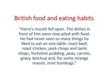 British food and eating habits