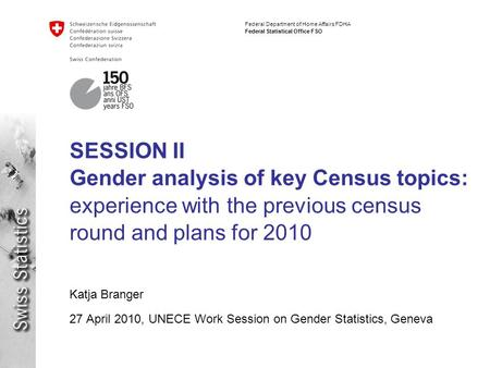 Federal Department of Home Affairs FDHA Federal Statistical Office FSO SESSION II Gender analysis of key Census topics: experience with the previous census.