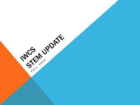 IWCS STEM UPDATE FALL 2015. INVESTIGATION AND RESEARCH Preliminary plan from coordinators – includes professional development and training for STEM teachers.