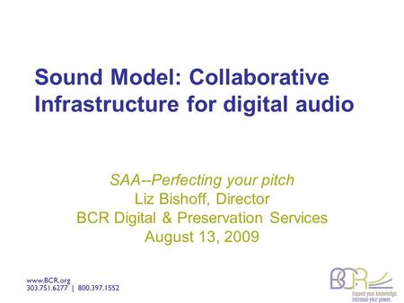 Sound Model: Collaborative Infrastructure for digital audio SAA--Perfecting your pitch Liz Bishoff, Director BCR Digital & Preservation Services August.
