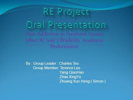 By : Group Leader : Charles Teo Group Member: Terence Lee Yang QiaoHao Zhao XingYu Zhuang Xun Heng ( Simon )