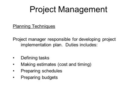 Project Management Planning Techniques