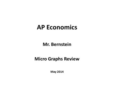 AP Economics Mr. Bernstein Micro Graphs Review May 2014.