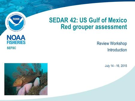 SEDAR 42: US Gulf of Mexico Red grouper assessment Review Workshop Introduction SEFSC July 14 - 16, 2015.