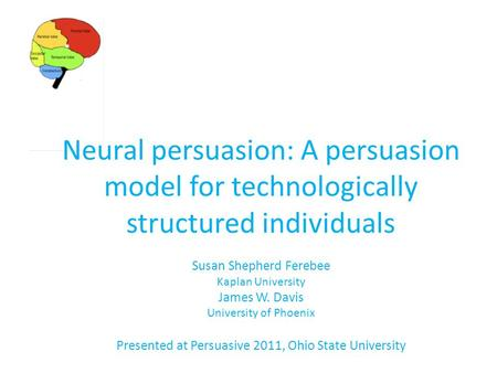 Neural persuasion: A persuasion model for technologically structured individuals Susan Shepherd Ferebee Kaplan University James W. Davis University of.