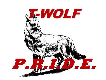 T-WOLF P.R.I.D.E.. T-WOLFPEExpectations DRESS DOWN EVERYDAY.