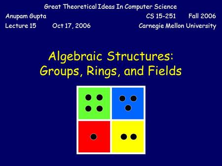 Great Theoretical Ideas In Computer Science Anupam GuptaCS 15-251 Fall 2006 Lecture 15Oct 17, 2006Carnegie Mellon University Algebraic Structures: Groups,